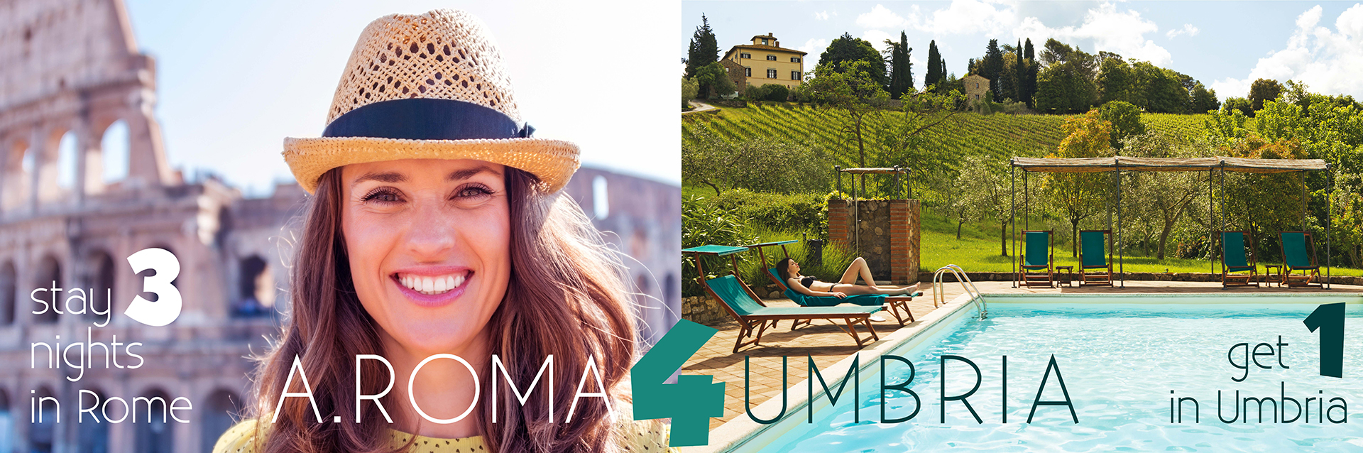 4 night offer 3 nights in rome and free night in Umbria