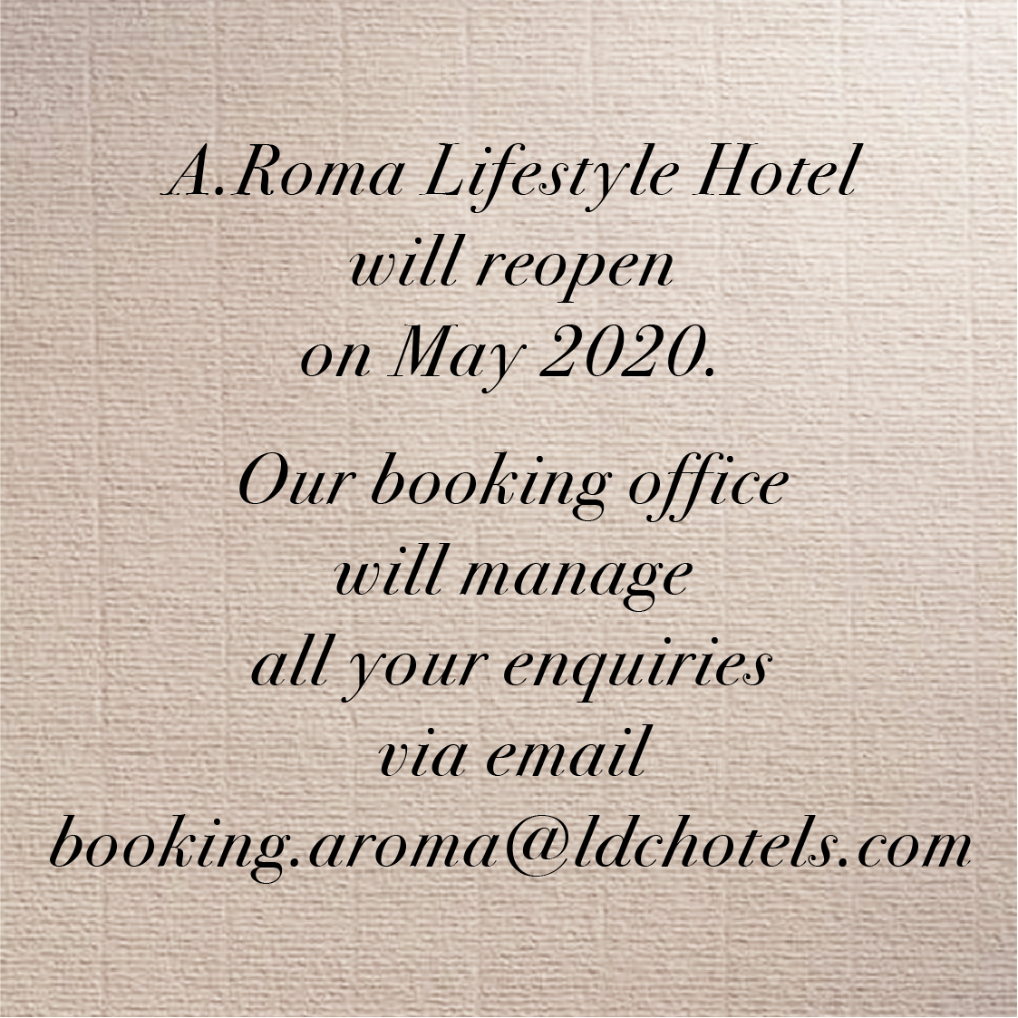 A.Roma Lifestyle Hotel - May Reopening